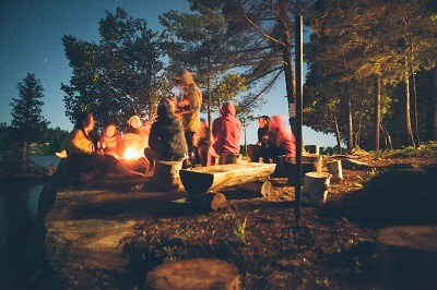 campfire with family