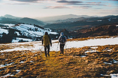 winter hiking in snow