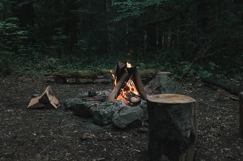 campfire is a must for rainy day camping
